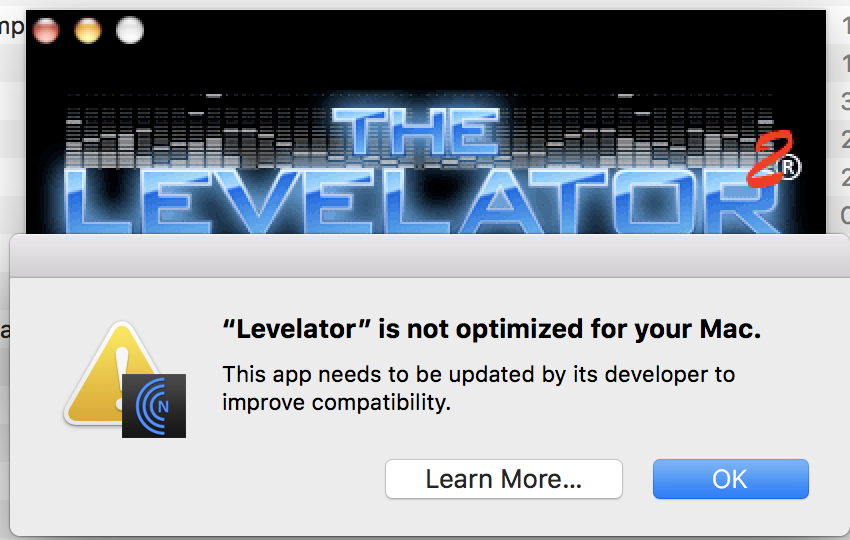levelator screenshot, not optimised for your mac.