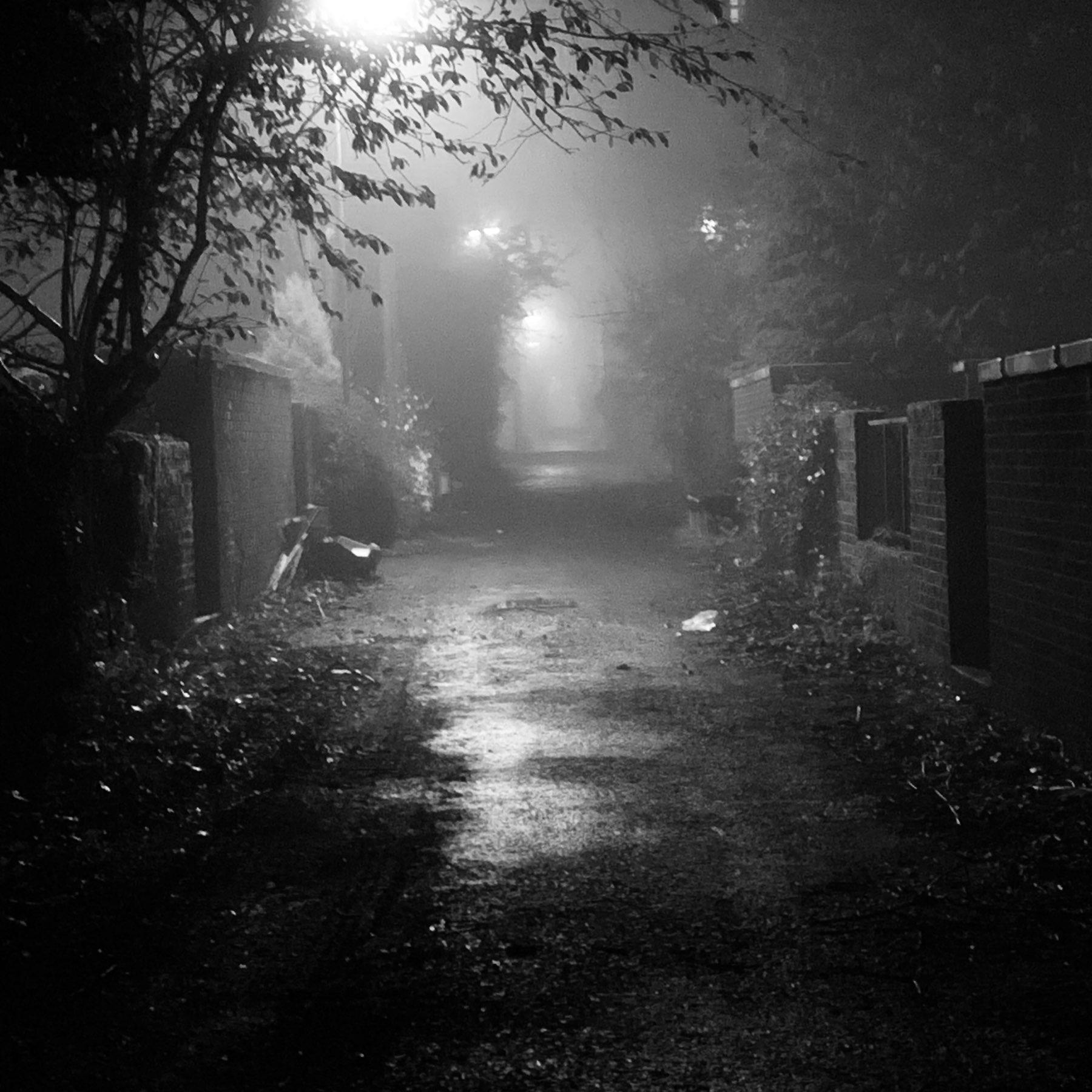 misty in bin lane at night. Broomhill Glasgow.