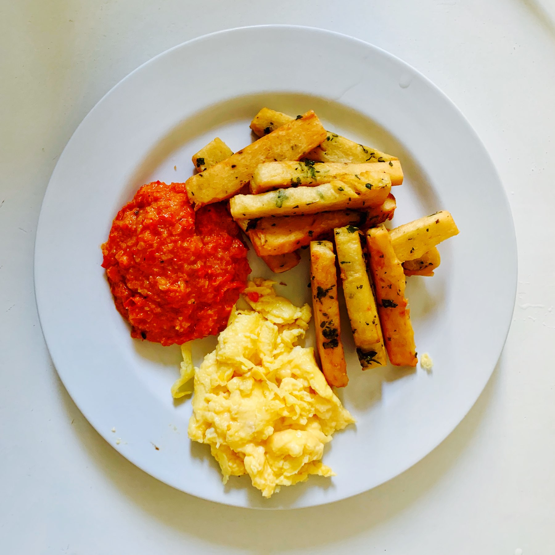 chickpea chips and scrambled egg
