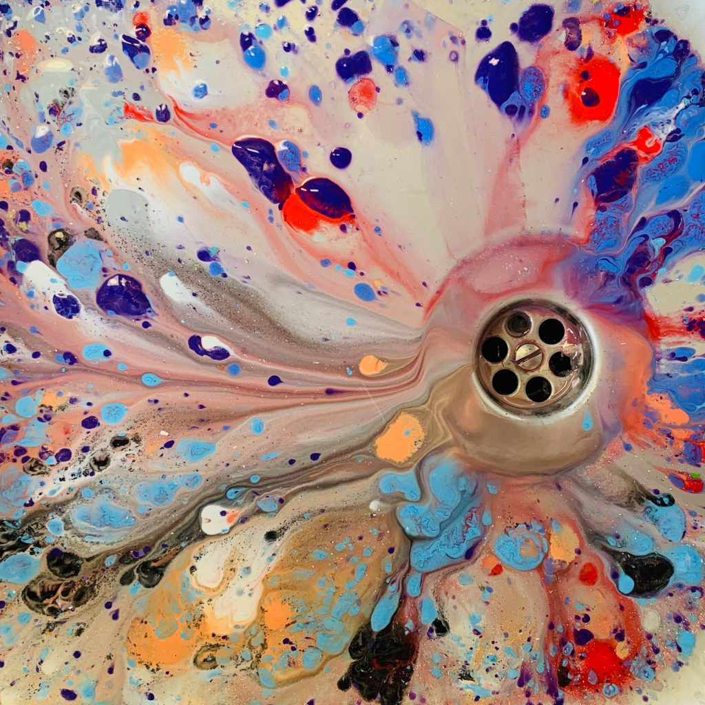 Paint in sink. Abstract Art.