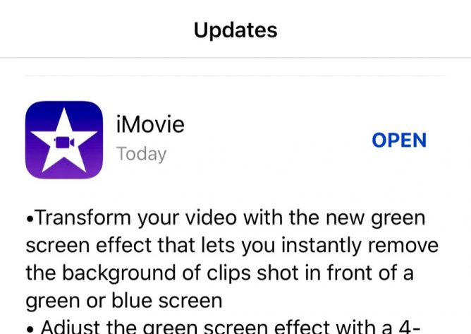 iMovie update notes iOS