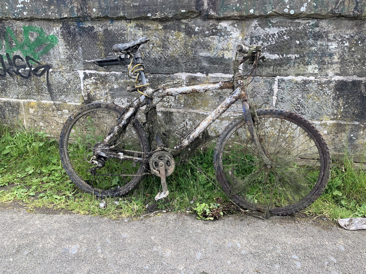 old bike pulled out of canel
