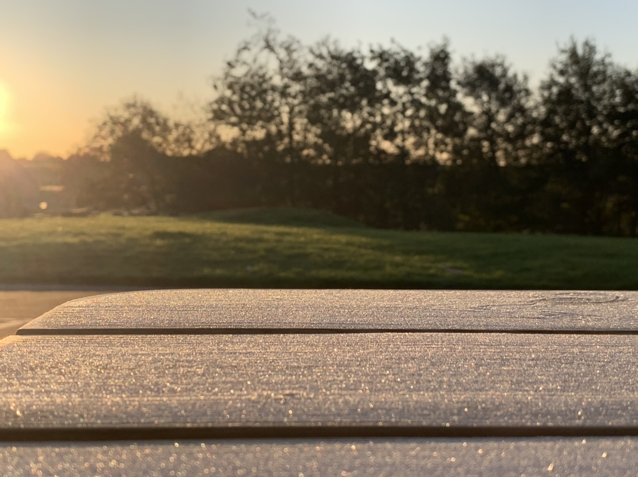 Frost on playground table