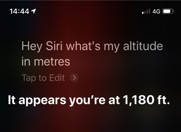 Hey Siri, What is my altitude in meters -- it appears that you are at 1,180 feet