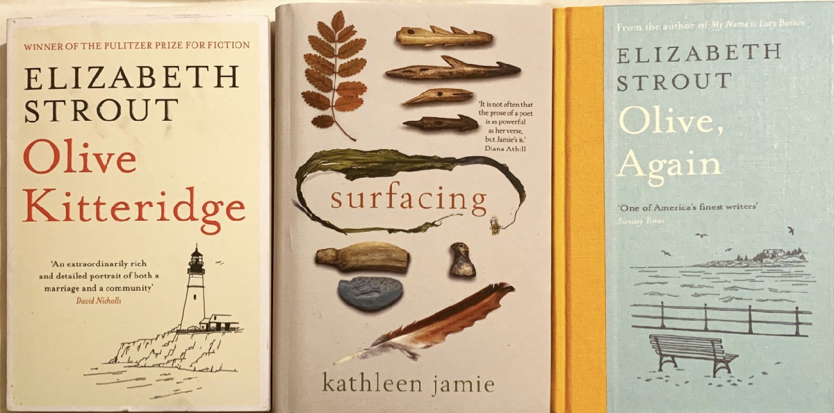 Book covers, Olive Kitterage by Elizabeth Stroud, surfacing by Katherine Jamie, and Olive Again by Elizabeth Stroud