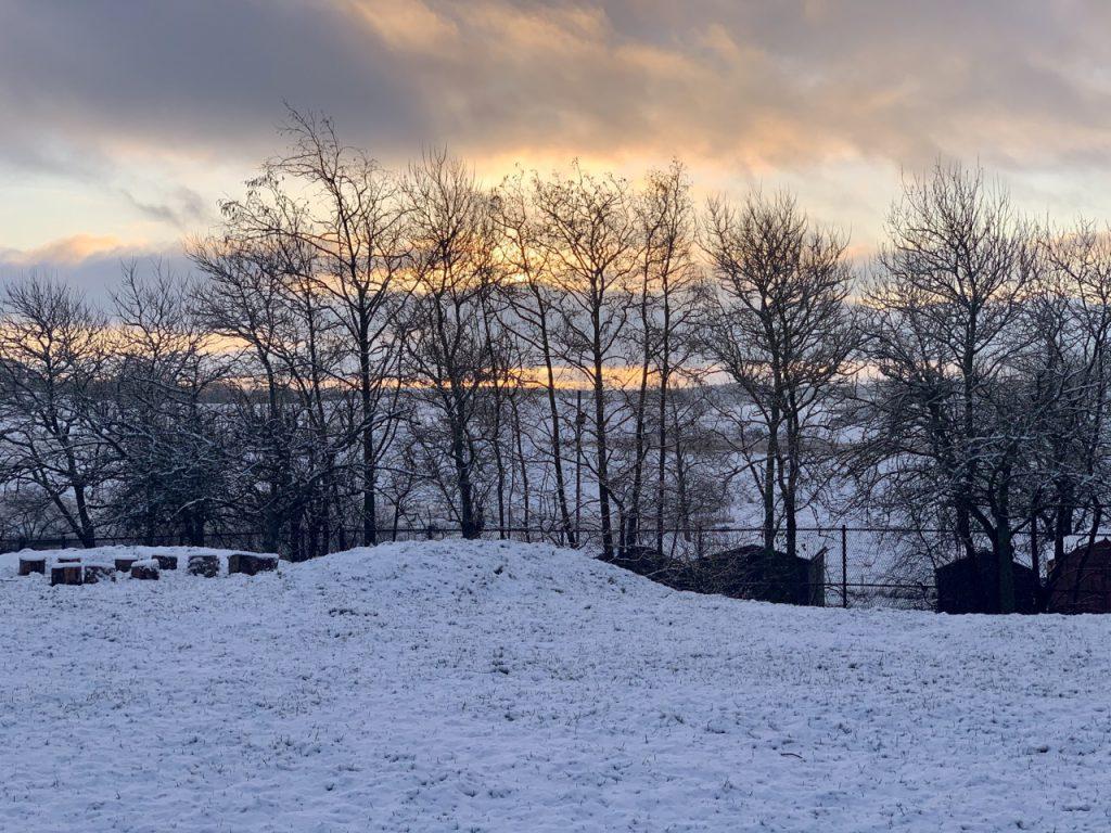 Banton playground morning snow