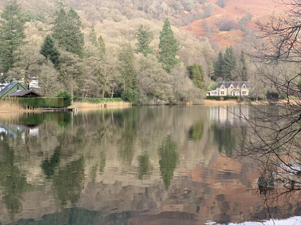 Loch Ard, house and trees reflected