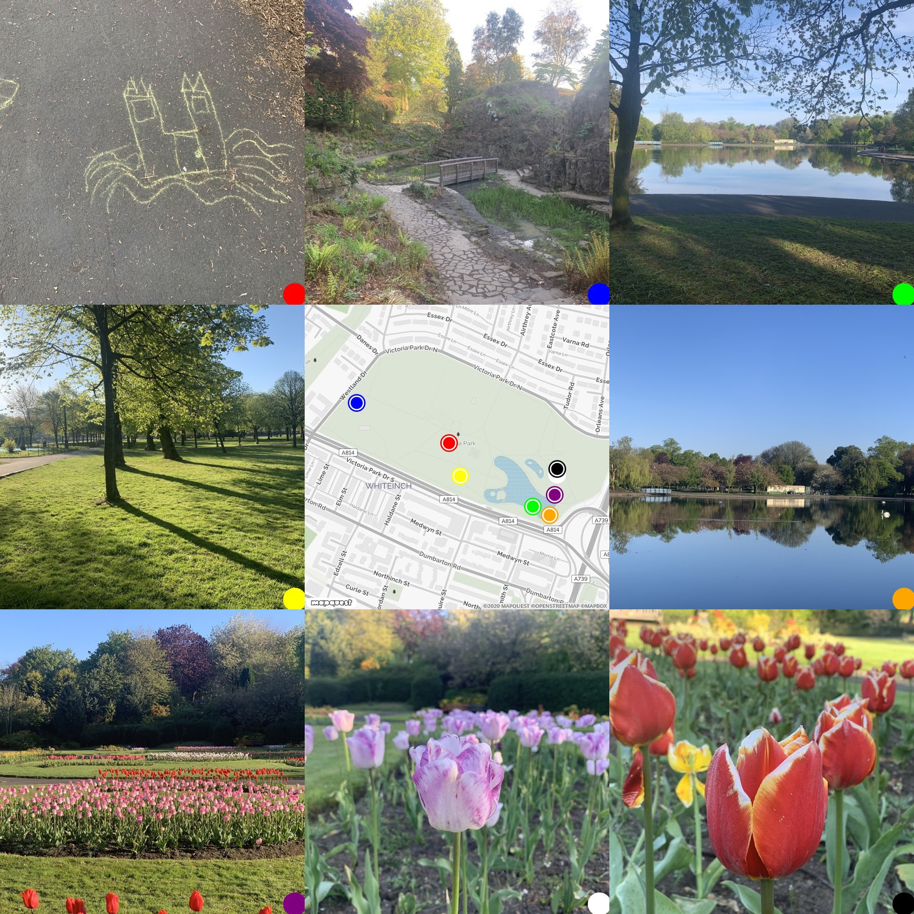 Grid of pictures and map Victoria Park