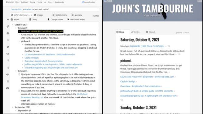 Screenshot Drummer and Blog