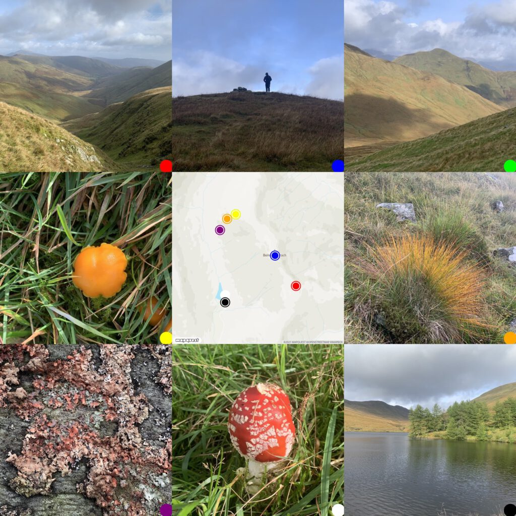 grid of photos and map from Glen Fruin Walk
